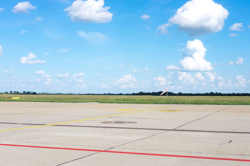 Airfield Airport Blue Cloud - Sky Empty Field Outdoors Sky Summer Taxiway
