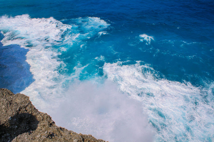 High angle view of sea waves