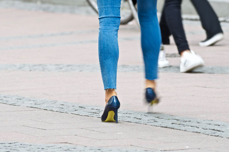 Blue Jeans Fashion High Heels People Shoe Soles Yellow Shoes Street Photography Walking Paint The Town Yellow