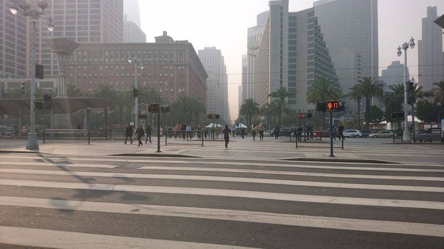 Hazy San Francisco. San Francisco SF California CA United States USA Embarcadero Crosswalk Intersection Haze Hazy  Fires Wildfires California Wildfires Downtown District Downtown Market Street Foggy Low Visibility Urban Urban Beauty Cityscape City Skyscraper Cityscape Architecture Sky