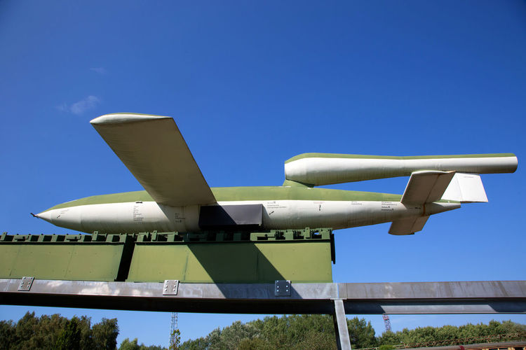 Historical And Technical Museum Aerospace Industry Air Vehicle Airplane Architecture Blue Built Structure Clear Sky Copy Space Day Fuel And Power Generation Low Angle View Metal Mode Of Transportation Nature No People Outdoors Plant Silver Colored Sky Sunlight Technology Transportation