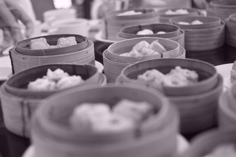 View Of Dumplings In Bamboo Containers