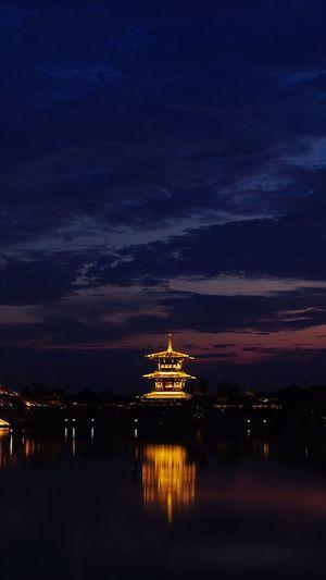 上海松江广富林遗址 Water Sky Night Reflection Architecture Illuminated Nature