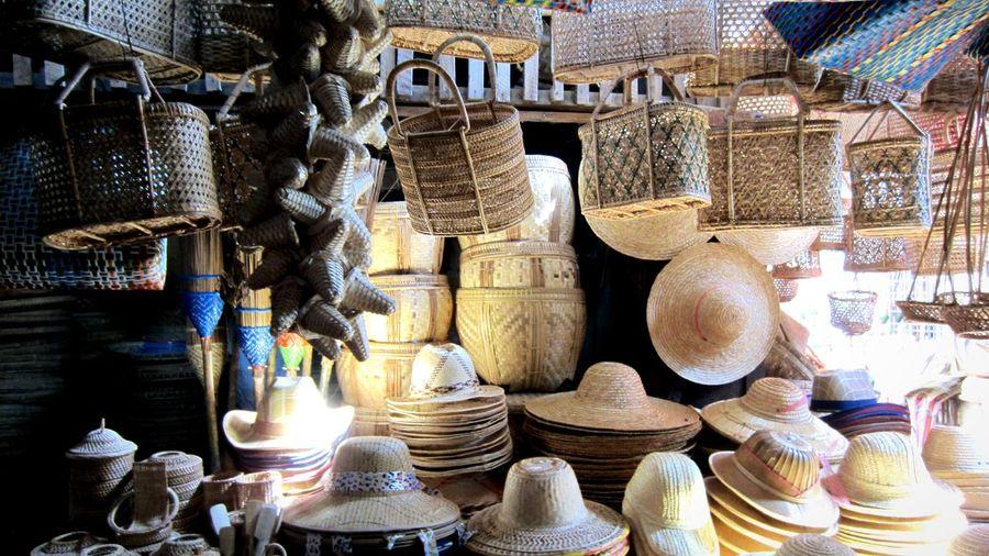 Bazaar Handmade Hats Baskets Nyaung-oo, Bagan Travel