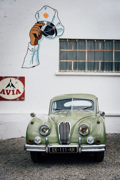 Vintage Old Garage Mechanic Retro Styled Vintage Car Collector's Car Stationary Headlight Grille Parking Building Historic Vehicle Light Vehicle Sports Car Graffiti Street Art