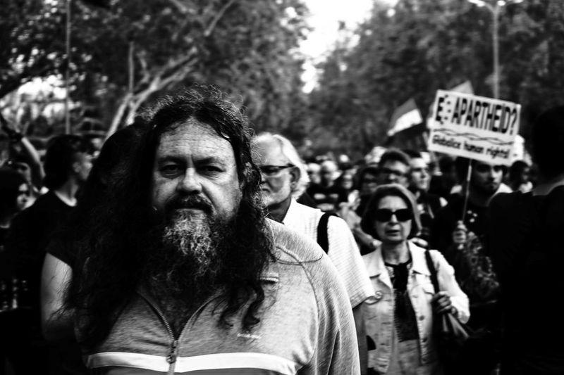 Banners BestEyeemShots Black And White Blackandwhite Crowded Flags Madrid Madrid Spain Man Manifestation Noapartheid Protest The Street Photographer - 2016 EyeEm Awards