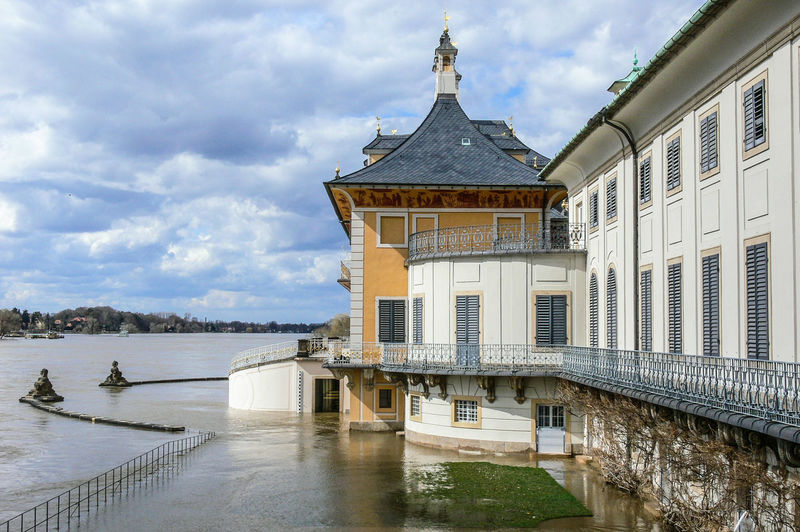 castle Pillnitz near Dresden Elbe river with high flood Castle Elbe River Architecture Building Exterior Built Structure Cloud - Sky Day High Flood High Water Level Nature Outdoors Park Sky Water