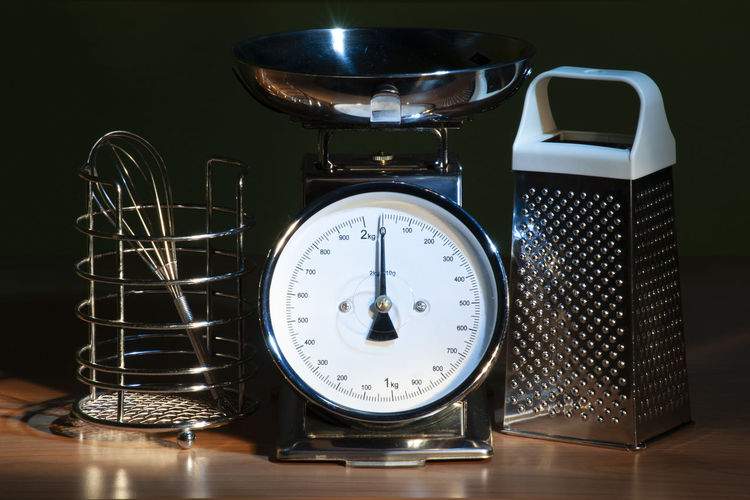 Steel and cooking Light Painting Appliance Clock Close-up Container Equipment Grater Household Equipment Indoors  Instrument Of Measurement Kitchen Kitchen Utensil Metal No People Steel Still Life Stove Table Technology Time Weight Scale Whisk Kitchen Wood - Material