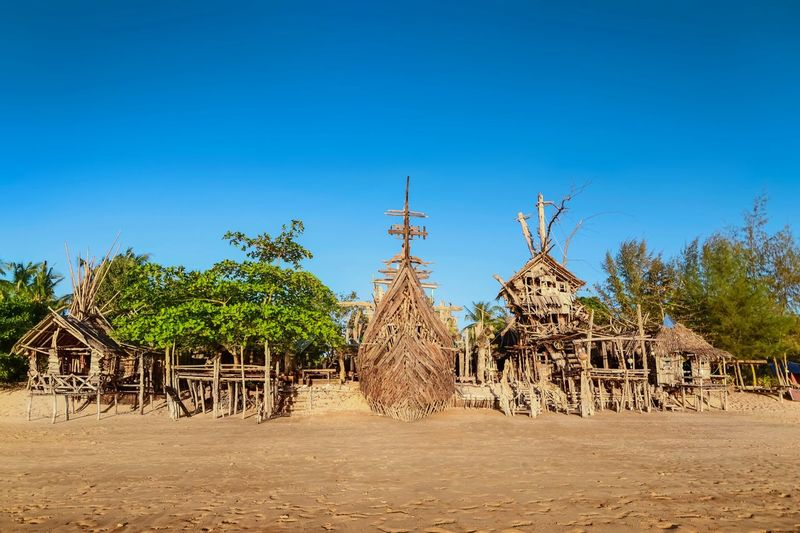 The Hippie Bar, made out of driftwood from the beach, Koh Phayam island, Thailand. Koh Phayam Thailand Bar Hippie Hippy Beach Travel Tropical Ship Pirate Theme Driftwood Recycled Wood Treehouse Summer Khao Kway Kao Kway House Holyday Vacation Resort Treetop Travel Photography