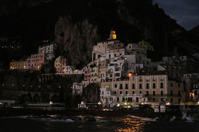 Amalfi Coast Italy Sunset Sundown Coastline Coastline Landscape Sea Building Exterior Illuminated Architecture Built Structure Night Nature Water City Outdoors Dusk Sky Coastal Night Photography Italia