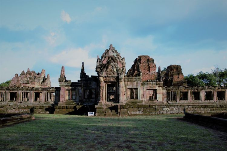 Muang Tam Sanctuary-Buriram,Thailand Ancient Ancient Civilization Architecture Building Exterior Built Structure Cloud - Sky Day Grass History No People Old Ruin Outdoors Place Of Worship Religion Sky Spirituality Statue The Past Tourism Travel Destinations