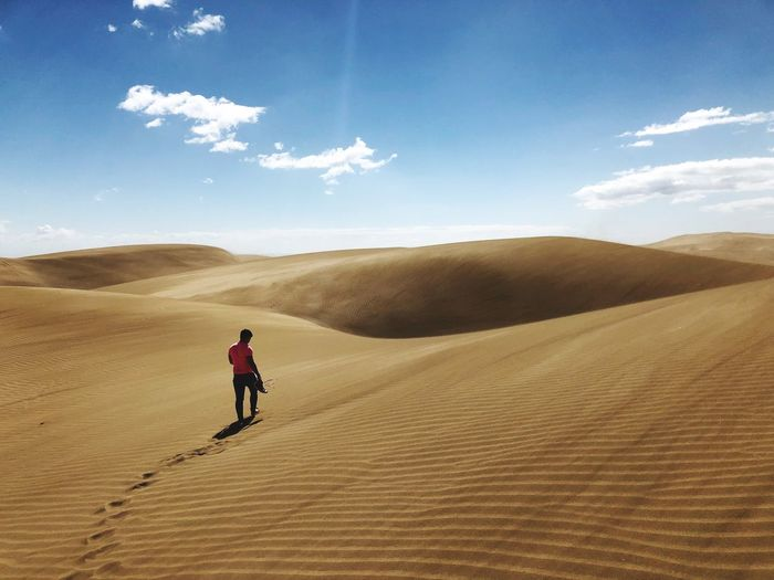 Rear view of man standing at desert against sky