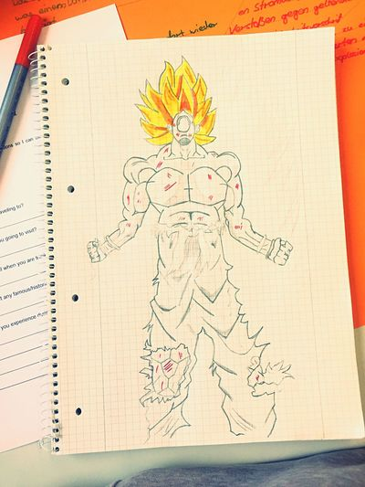 Paper Sketch Pad Indoors  No People Close-up Day Dragonball Z Son Goku Anonymscreen