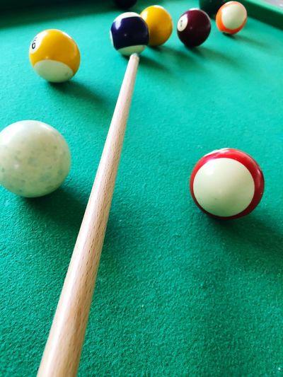 High angle view of balls on pool table
