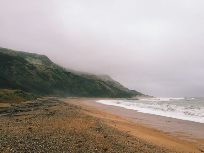 Foggy beach Beach England Coastline Coast Sea Fog Mist Bay Waves Ocean Cliff Cliffs Dorset