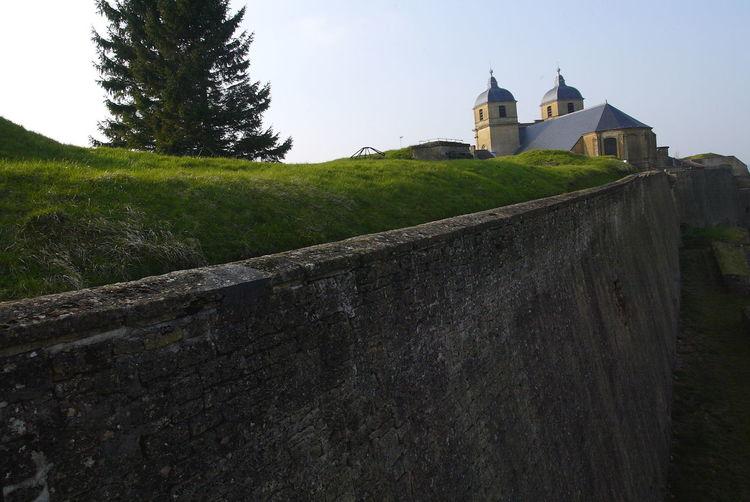 Blue Sky Church Citadel Evergreen Grass Green Green Color Montmedy Montmedy Montmedy Retaining Wall Stone Wall Stronghold Tree Vauban Wall