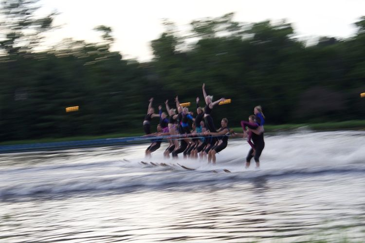 Speed Blurred Motion Motion Landscape River Riding Nature Outdoors Vacations Water People Sports Race Tree Water Skiing