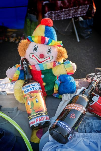 France Bottle Close-up Clown Communication Day Human Representation Multi Colored No People Outdoors Pessac Soup Text