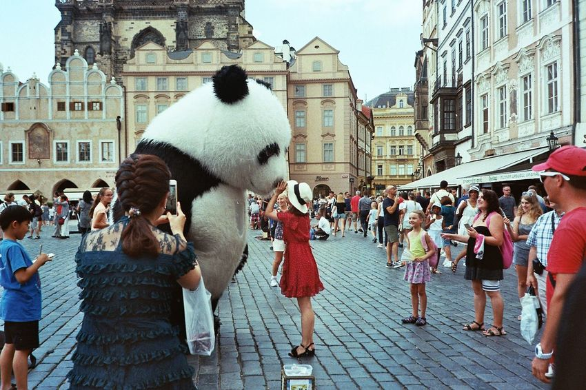 Analogue Photography Film Photography Kodak Costume Streetview Girl City Crowd Women City Life Sky Architecture Building Exterior Built Structure Street Scene Street Performer Town Square City Street Astronomical Clock Old Town
