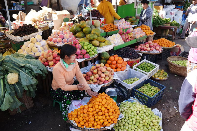 Fruit Vendor at Maymyo Market Choice Colourful Composition Food For Sale Freshness Fruit Full Frame Healthy Eating Large Group Of Objects Making A Living Market Market Stall Maymyo Myanmar Occupation One Woman Only Outdoor Photography Retail  Selling Street Market Sunlight And Shade Tourist Attraction  Vendor Young Woman