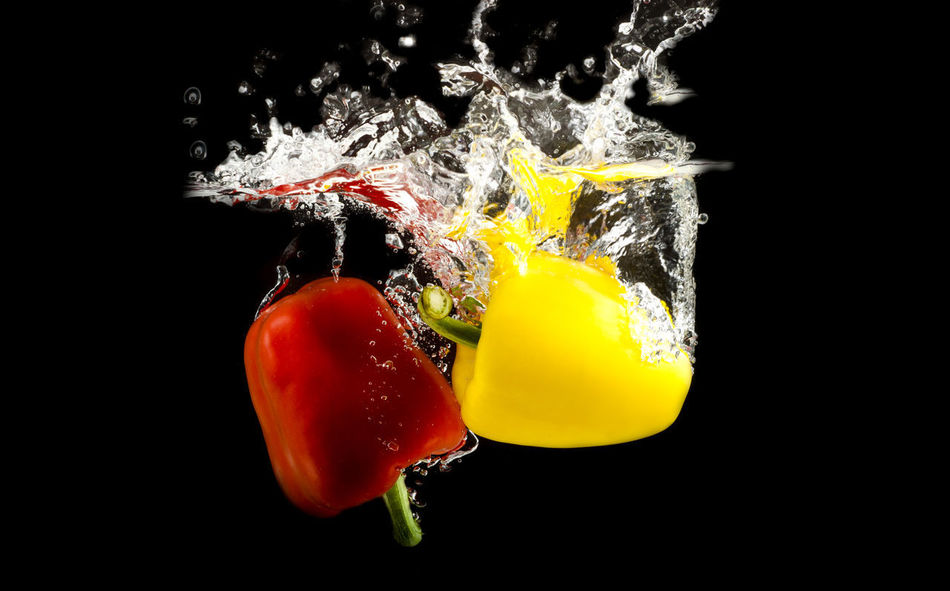 Bell pepper with splash. Drops Bell Pepper Splash Black Background Close-up Food Food And Drink Freshness Healthy Eating No People Studio Shot Vegetables Water Splashing Yellow