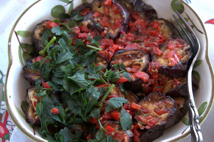 Stuffed aubergines. Aubergine Cuisine Bowl Close-up Day Food Food And Drink Freshness Greek Cuisine Healthy Eating High Angle View Indoors  No People Ready-to-eat Stuffed Food