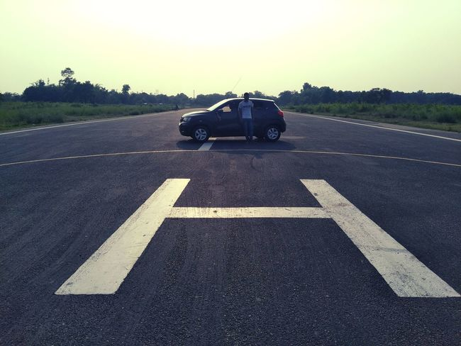Evening at Runway Helipad Airpot Vachicle Parking