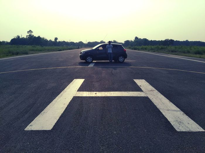 Evening at Runway Helipad Airpot Vachicle Parking