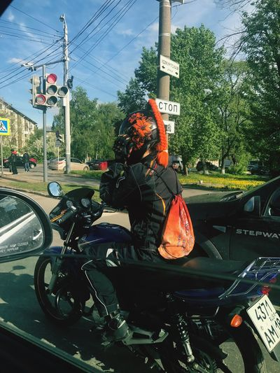 Девушка на мото-это круто!мои комплименты таким! Transportation Mode Of Transport Land Vehicle Motorcycle Car Road Day Text Riding Real People Helmet Outdoors Electricity Pylon Headwear One Person Road Sign Tree Sky People