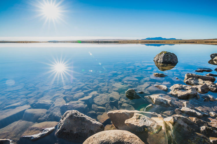 Beauty In Nature Blue Clear Sky Cold Temperature Day Horizon Over Water Iceland Lake Nature No People Outdoors Reflection Sky Social Issues Sun Sunbeam Sunlight Water