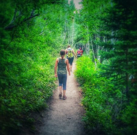 Live For The Story Walking Forest Footpath Green Color Nature Real People Tree Togetherness Hiking Outdoors Leisure Activity Day The Great Outdoors - 2017 EyeEm Awards Summer Childhood Beauty In Nature Landscape Mount Timpanogos