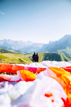 Exploring Paragliding The Great Outdoors - 2018 EyeEm Awards Adventure Beauty In Nature Day Environment Landscape Leisure Activity Mountain Mountain Range Mountains Nature Non-urban Scene Outdoors Parachute People Real People Scenics - Nature Sky Sport Summer Tranquil Scene Tranquility Travel Destinations