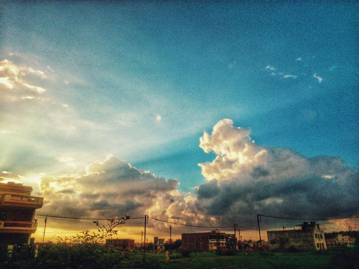 """""""There are no rules for architecture in the castle of clouds."""" Blue Yellow Clouds Sky Beautiful Nature Scenery See The World Through My Eyes Nostalgic  View Of The Sky Indian Photographer EyeEm Nature Lover Eye4photography"""