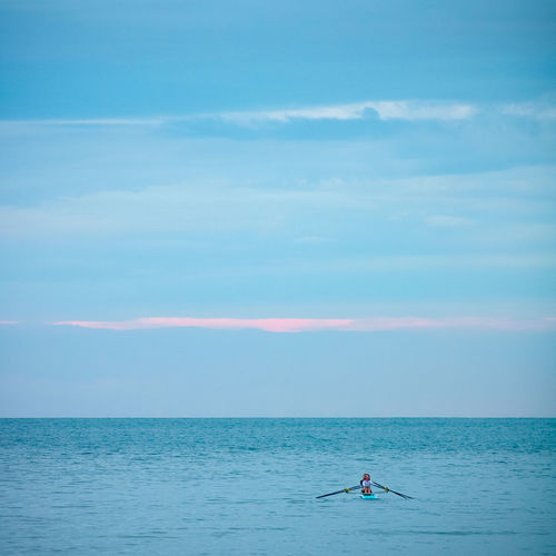 Alone Mediterranean Sea Oar Beauty In Nature Day Horizon Horizon Over Water Leisure Activity Lifestyles Men Nature Non-urban Scene Oaring One Person Outdoors Real People Rower Scenics - Nature Sea Sky Sport Tranquil Scene Tranquility Water Waterfront The Minimalist - 2019 EyeEm Awards