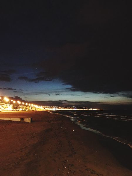 Beach Beach Sea Land Water Sky Beauty In Nature Scenics - Nature Illuminated Horizon Motion Idyllic No People Tranquil Scene Cloud - Sky Sand Tranquility Nature Night Horizon Over Water Outdoors