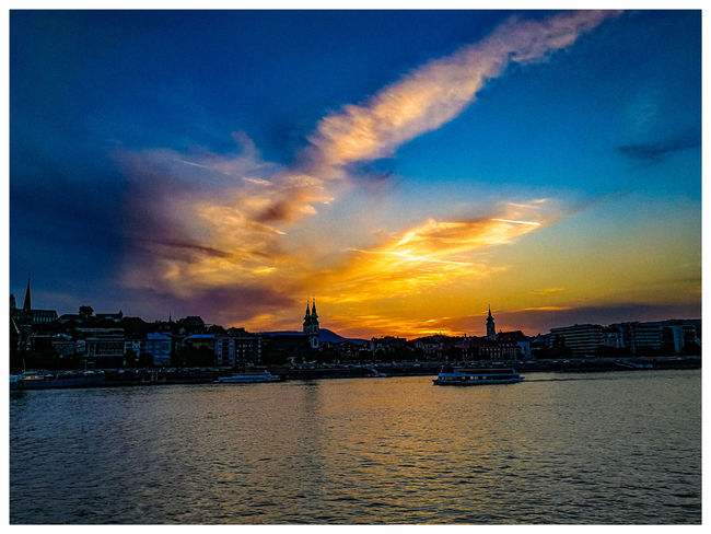 The sun left the Danube. Travel Destinations Turistic Attractions Tredition Hungary City Cityscape Urban Skyline Water Sunset Awe Sea Illuminated Dramatic Sky Sky