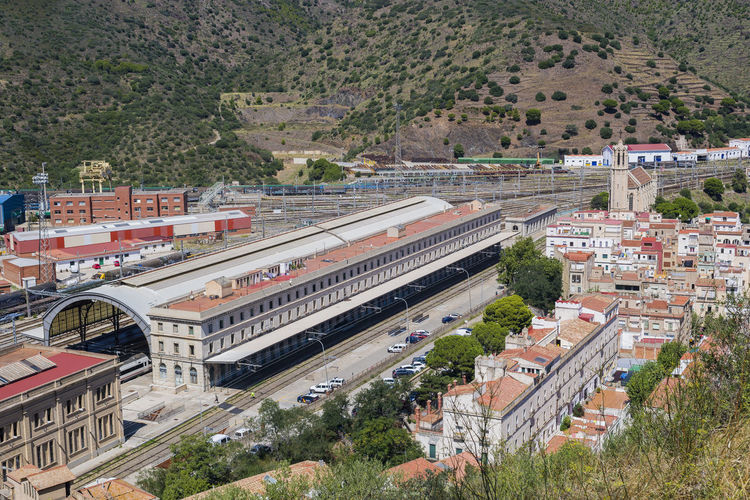 Train station of Portpou, Catalonia, Spain Architecture Built Structure Building Exterior Transportation High Angle View Nature City Outdoors Portbou SPAIN Catalonia Catalunya Nature Otdoor Trekking Tourism Backpacker Relaxing Sea Costabrava Costa Brava Mountains Travel Destinations Train Stationary