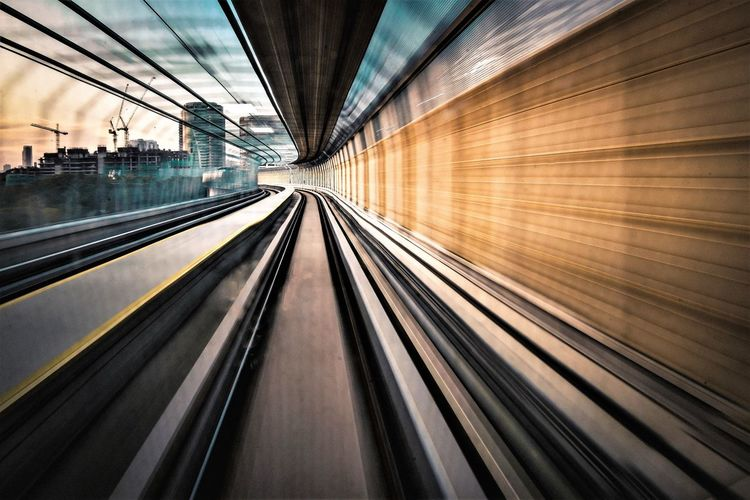 Blurred motion of railroad tracks in tunnel