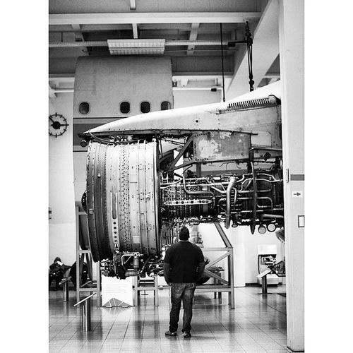 An Airplane Engine at the Aeronautics and Aviation exhibition at the DeutchesMuseum museum. Taken by MY SonyAlpha Dslr A57 . münchen Munich bayarn Bavaria Germany Deutschland. متحف قسم طيران طائرات ملاحة ميونخ المانيا بافاريا