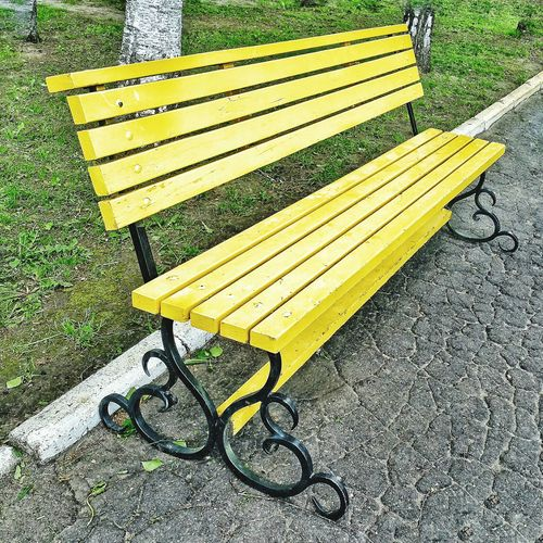 Yellow Bench in the park Sunny Day Yellow Benches Benches_Of_The_World_Unite Park Benches суми Україна Sumy Ukraine