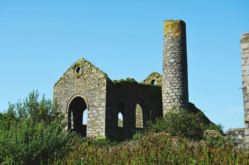 Architecture History Built Structure Ancient Arch Old Ruin Travel Destinations Building Exterior Blue No People Outdoors Day Clear Sky Sky Cornishmine Cornwall Uk Revolution Cornish Tin Mine Nature Grass Ancient Architecture Cornwall The Week On EyeEm gfl2