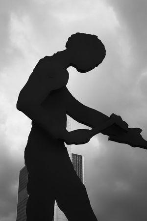 Hammering Man Kinetic Sculpture in Frankfurt Silhouette Sky Side View Low Angle View Cloud - Sky Art Landmark EyeEm Best Shots - Black + White Blackandwhite EyeEm Gallery EyeEmBestPics EyeEm Best Shots Fine Art Photography Fine Art Black & White Welcome To Black
