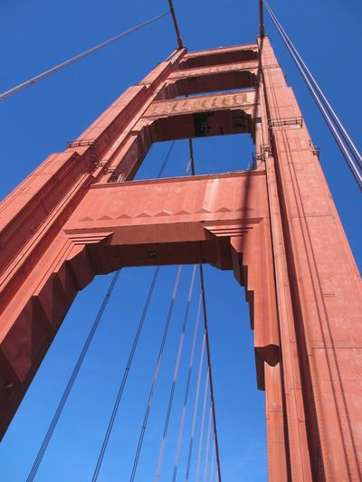 Low angle view of golden gate bridge against clear blue sky during sunny day