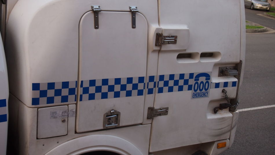 Australia Australian Polizeiauto Blue White Car Close-up Communication Day Fuel And Power Generation Household Equipment Indoors  Land Vehicle Lock Up Machinery Metal Mode Of Transportation No People Number Police Police Car Police Force Sign Sydney Text Transportation Wall - Building Feature Washing Machine Western Script White Color