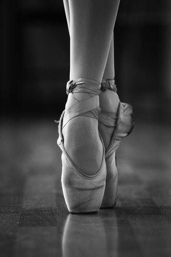 Low Section Of Ballet Dancer Performing In Studio