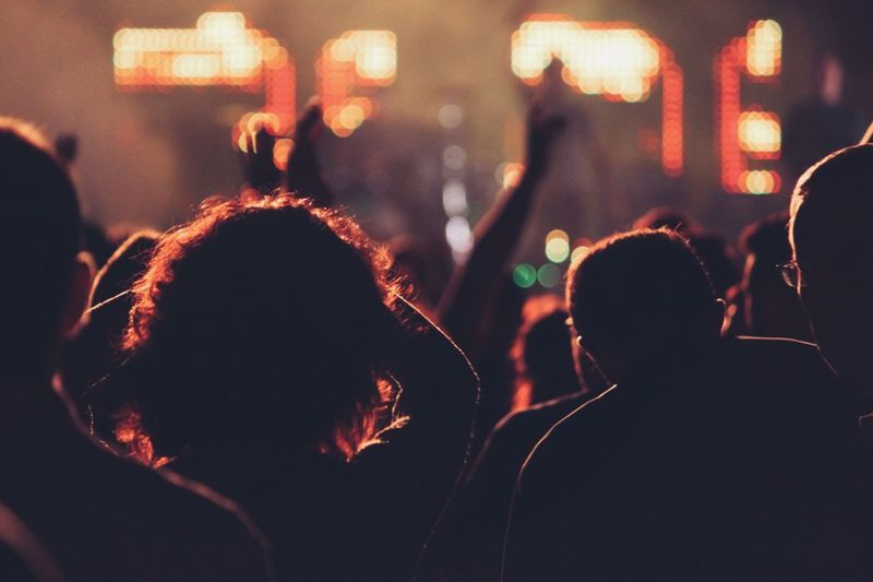 People at music concert at night
