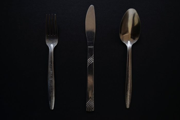 Beautifully Organized Studio Shot Spoon Eating Utensil Colored Background Black Background Small Group Of Objects Backgrounds Kitchen Utensil No People
