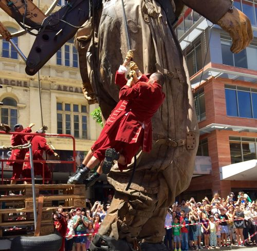 PERTH, AUSTRALIA-FEBRUARY 14, 2015: Journey of the Giants, puppeteers at work, public International Arts Festival Art Art Event Australia Australianshepherd Belts And Pulleys City Cityscape Crane Crowds Culture Diver Festival Giant Human International Journey Little Girl Marionette People Puppeteers Walking Winchester Wooden