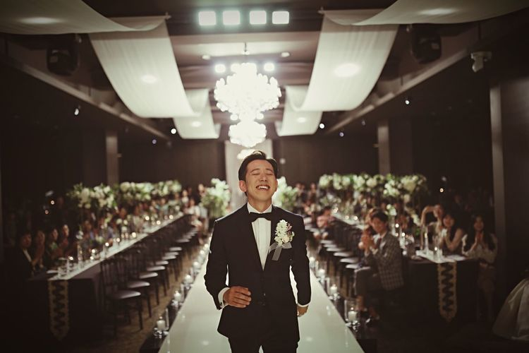 Love and happiness Korea Marry Me? Bride Wedding Real People Crowd Smiling Standing Indoors  Adult Celebration