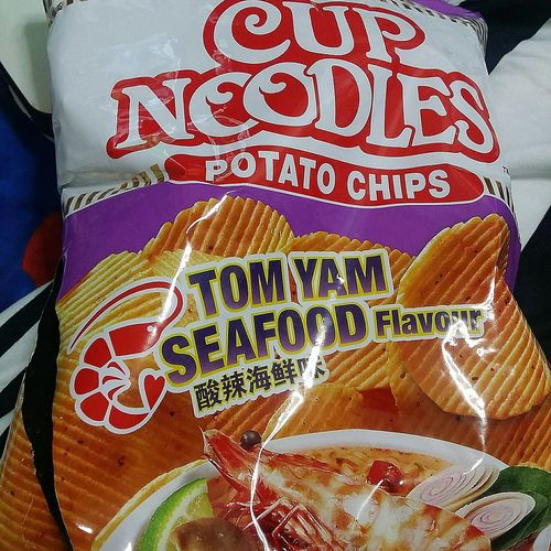 Looked at it in a super but couldnt see... could not understand for 20 seconds Nissin Crisps Cup Noodles Crisps Tomyam Seafood Junk Food Singapore